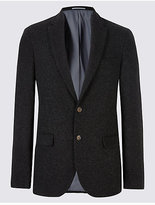 M&S Collection Charcoal Italian Wool Fabric Jacket