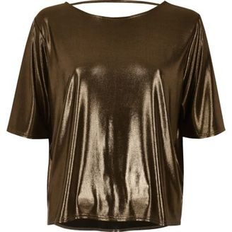 River Island Womens Bronze boxy strap back T-shirt
