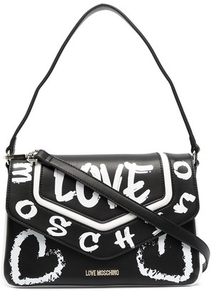 Love Moschino Graffiti Print Faux Leather Tote Bag