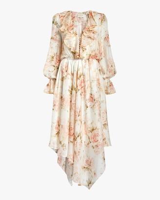 Divine Heritage V Neck Asymmetrical Midi Dress