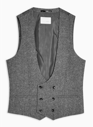 Topman Mens Grey Heritage Gray Skinny Fit Double Breasted Suit Waistcoat
