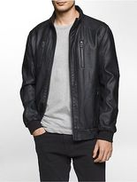 Calvin Klein Mens Faux Leather Washed Jacket