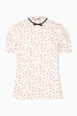 Miu Miu Bow-embellished Floral-print Silk Blouse - Ivory