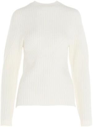 Low Classic Mock Neck Back Slit Knit Sweater