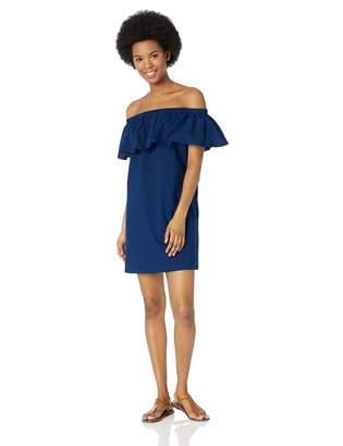 Lucky Brand Junior's Off Shoulder Ruffle Swimwear Cover Up Dress