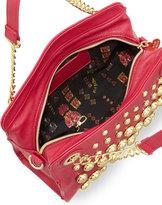Betsey Johnson Great Balls of Fire Pebbled Satchel Bag, Fuchsia