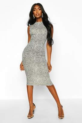 boohoo Snow Leopard High Neck Sleeveless Midi Dress