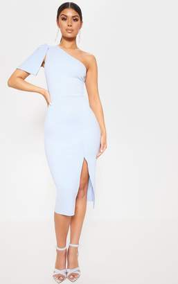 PrettyLittleThing Baby Blue One Shoulder Bow Detail Midi Dress
