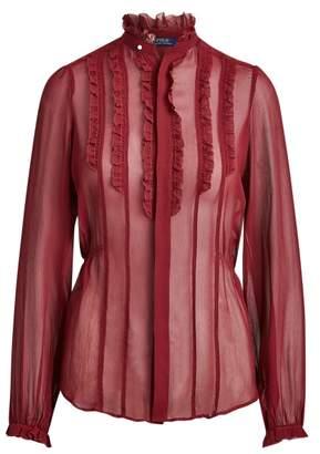 Ralph Lauren Ruffle-Trim Silk Shirt