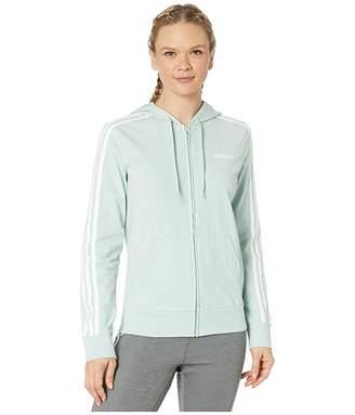 adidas Essential 3 Stripe Full Zip Single Jersey Hoodie