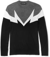 Neil Barrett Intarsia Wool Sweater - Gray