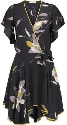 Halston Wrap-effect Floral-print Silk Crepe De Chine Mini Dress