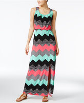 Trixxi Juniors' Printed Knot-Back Maxi Dress