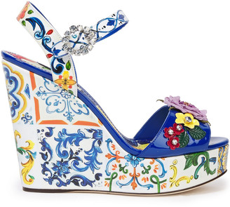 Dolce & Gabbana Floral-appliqued Printed Patent-leather Wedge Sandals