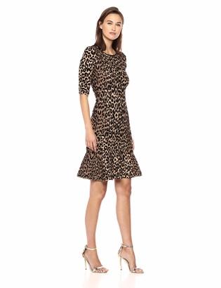 Milly Women's Knit Textured 3/4 Sleeve Cheetah Mermaid Hem Dress