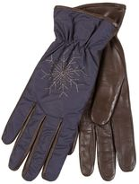 Restelli Nappa Leather Gloves With Snowflake Embroidery.Lined rabbit