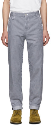 A.P.C. Navy and White Striped Carpenter Jeans