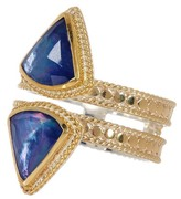 Anna Beck 18K Gold Plated Sterling Silver Double Row Lapis Triplet Ring