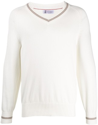 Brunello Cucinelli ribbed knit detail V-neck sweater