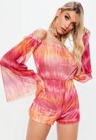 Missguided Pink Mesh Flare Long Sleeve Bardot Playsuit