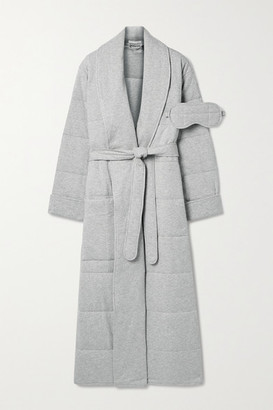 Skin Sierra Quilted Cotton-jersey Robe And Eye Mask Set - Gray