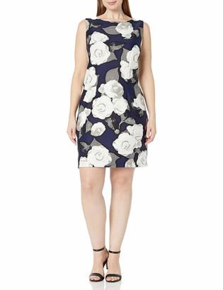 Taylor Dresses Women's Plus Size Moonlight Rose Stretch Crepe Sheath Dress
