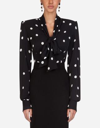 Dolce & Gabbana Polka-Dot Print Charmeuse Shirt