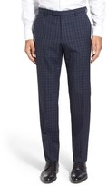 BOSS Men's 'Leenon' Flat Front Plaid Stretch Wool Trousers
