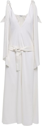 Tome Tie-detailed Belted Silk Midi Dress