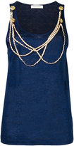 Pierre Balmain chain detail tank top - women - Linen/Flax - 40