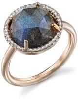 Irene Neuwirth Rose Cut Labradorite Ring with Diamonds - Rose Gold