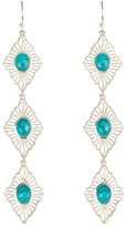Argentovivo Sterling Silver Turquoise Center Triple Drop Earrings