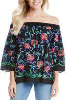 Karen Kane Embroidered Off-The-Shoulder Top
