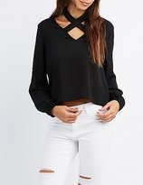 Charlotte Russe Strappy Choker Neck Blouse