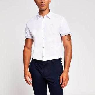 River Island White turn up short sleeve slim fit shirt