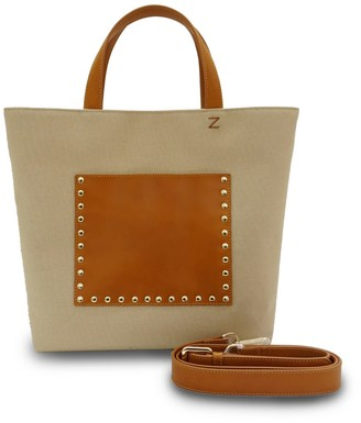 Neyuh Leather The Handy Tote - Cream Canvas On Tan