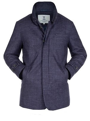 Norwegian Wool Textured Wool & Silk Hooded Stretch Slim Carcoat