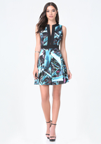 Bebe Print Box Pleat Dress