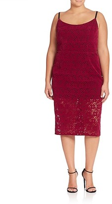 ABS, Plus Size Floral Lace Sheath Dress