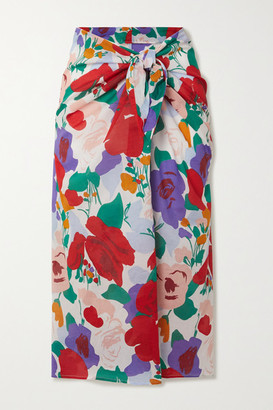 Faithfull The Brand Floral-print Cotton-voile Pareo - Red