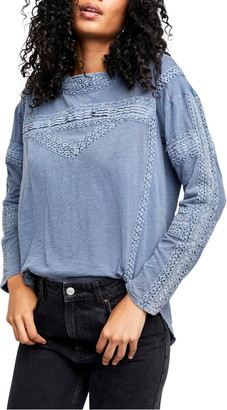 Free People Crochet Long Sleeve Top