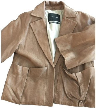 Club Monaco Camel Leather Jacket for Women
