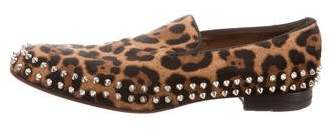 Christian Louboutin Spike-Trimmed Ponyhair Loafers