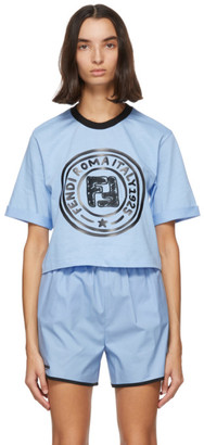 Fendi Blue Crop Logo T-Shirt