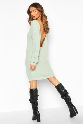 boohoo V Back Fisherman Oversized Jumper Dress