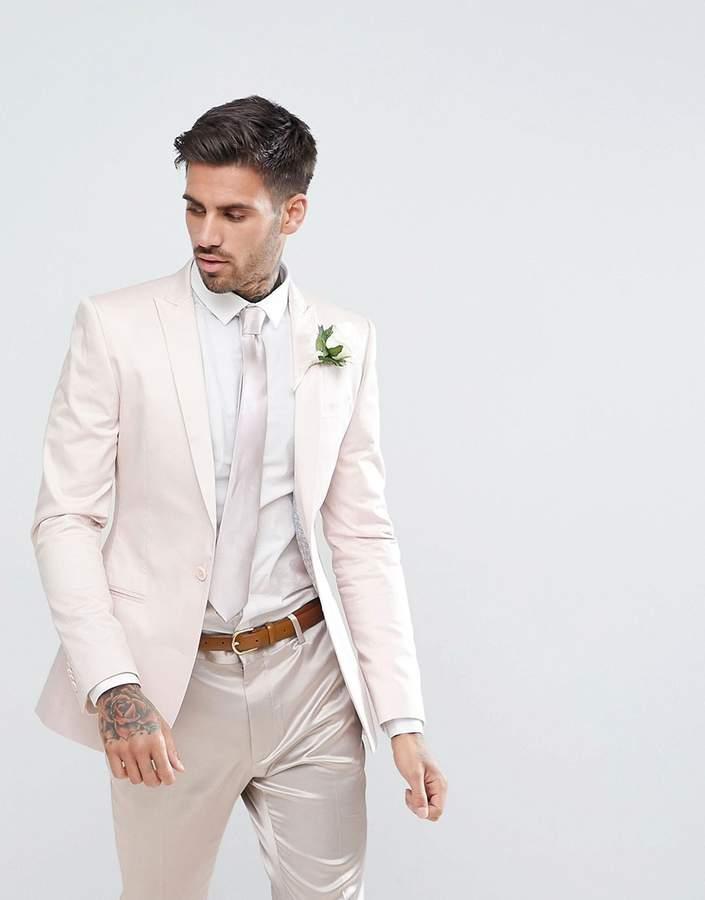 Asos Design Wedding Super Skinny Blazer In Blush Cotton Sateen