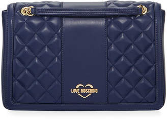 Love Moschino Borsa Quilted Faux-Leather Shoulder Bag, Blue
