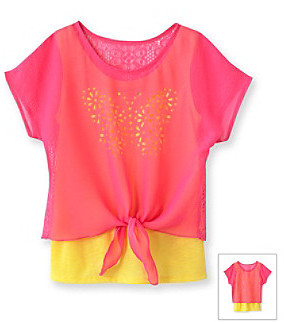 Amy Byer Girls' 7-16 Neon Pink Butterfly Cut-Out Top