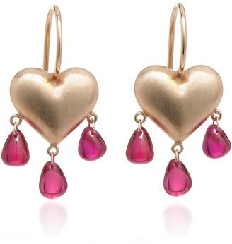 Rachel Quinn Bleeding Heart 14K Gold And Ruby Earrings