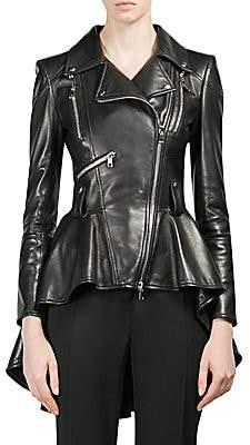 Alexander McQueen Women's Leather Peplum Jacket